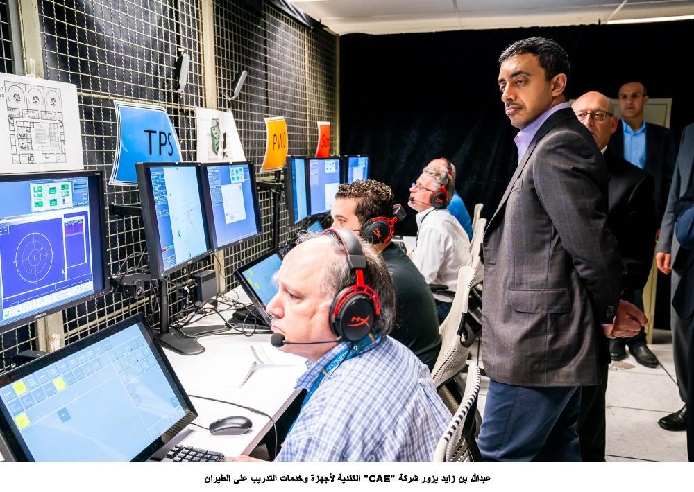 عبدالله بن زايد يزور شركة CAE الكندية لأجهزة وخدمات التدريب على الطيران 4
