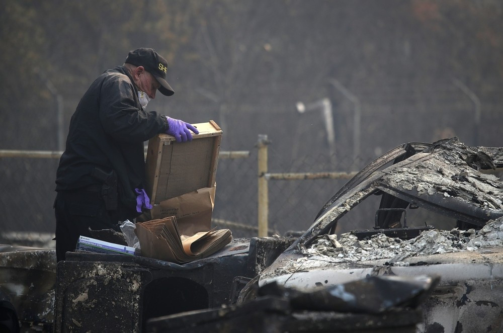 PARADISE, CA - NOVEMBER 16: A San Bernardino County sheriff deputy puts human remains into a bag that were found at a home destroyed by the Camp Fire on November 16, 2018 in Paradise, California. Fueled by high winds and low humidity the Camp Fire ripped through the town of Paradise charring over 140,000 acres, killed at least 63 people and has destroyed over 11,000 homes and businesses. The fire is currently at 45 percent containment and 631 people still remain missing. Justin Sullivan/Getty Images/AFP == FOR NEWSPAPERS, INTERNET, TELCOS & TELEVISION USE ONLY ==