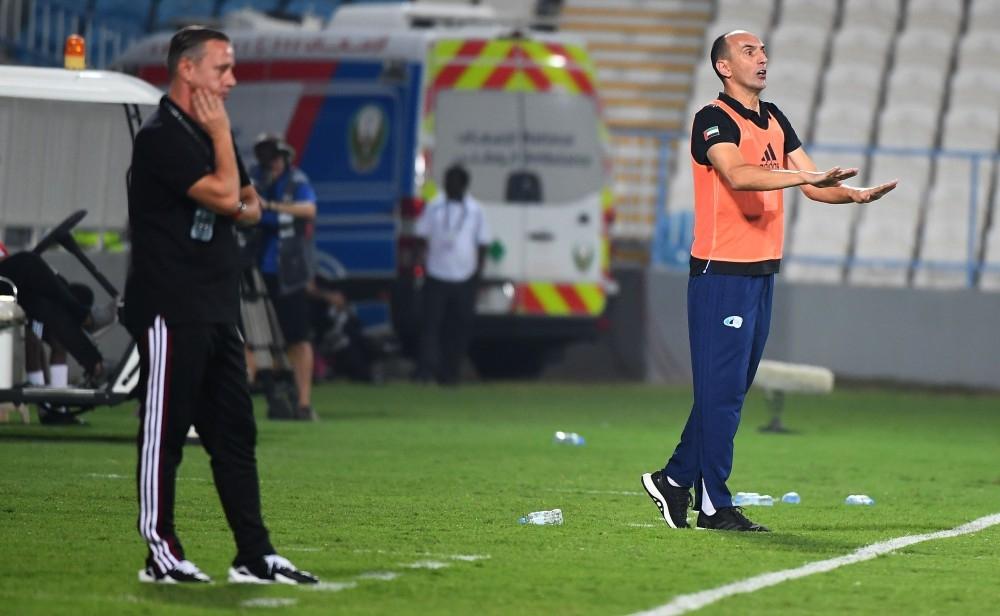 من مباراة بني ياس والوحدة في دوري الخليج العربي في الشامخة أخيراً. (تصوير: محمد بدرالدين ـ «الرؤية»)