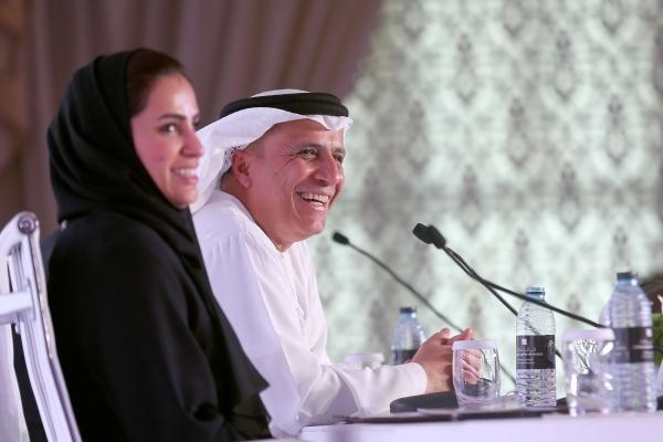 جانب من المؤتمر الصحافي للإعلان عن الفائزين بجائزة محمد بن راشد للإبداع الرياضي أمس. (الرؤية)