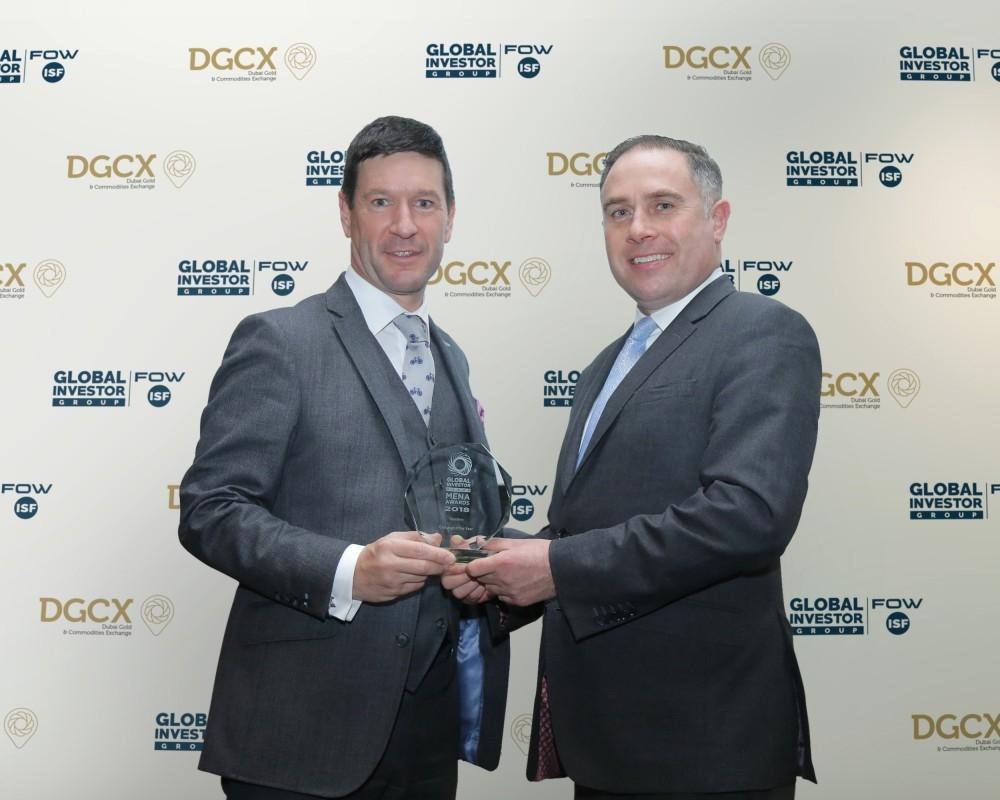 جائزة «أفضل بورصة لعام 2018» لبورصة دبي للذهب والسلع. (الرؤية)