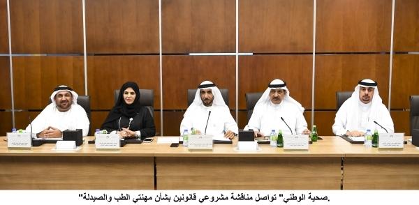 لجنة الشؤون الصحية والبيئية في المجلس الوطني خلال اجتماعها أمس في مقر الأمانة العامة بدبي. (وام)