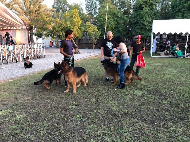 جانب من ملتقى «محبي الكلاب البوليسية» أمس الأول في دبي. (الرؤية)