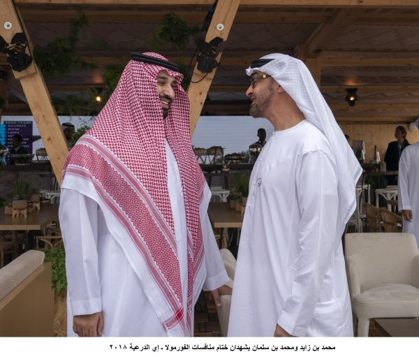 RIYADH, SAUDI ARABIA - December 15, 2018: HH Sheikh Mohamed bin Zayed Al Nahyan, Crown Prince of Abu Dhabi and Deputy Supreme Commander of the UAE Armed Forces (R) and HRH Prince Mohamed bin Salman bin Abdulaziz, Crown Prince, Deputy Prime Minister and Minister of Defence of Saudi Arabia (L), attend the final day of the 2018 Formula E Saudi Ad Diriyah E-prix.