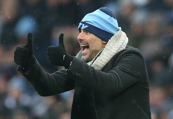 epa07233264 Manchester City's head coach Pep Guardiola reacts during the English Premier League soccer match between Manchester City and Everton at the Etihad Stadium in Manchester, Britain, 15 December 2018. EPA/NIGEL RODDIS EDITORIAL USE ONLY. No use with unauthorised audio, video, data, fixture lists, club/league logos 'live' services. Online in-match use limited to 75 images, no video emulation. No use in betting, games or single club/league/player publications.