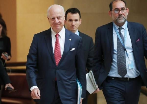 المبعوث الأممي لسوريا قبيل اجتماع تشكيل اللجنة الدستورية. (أ ف ب)