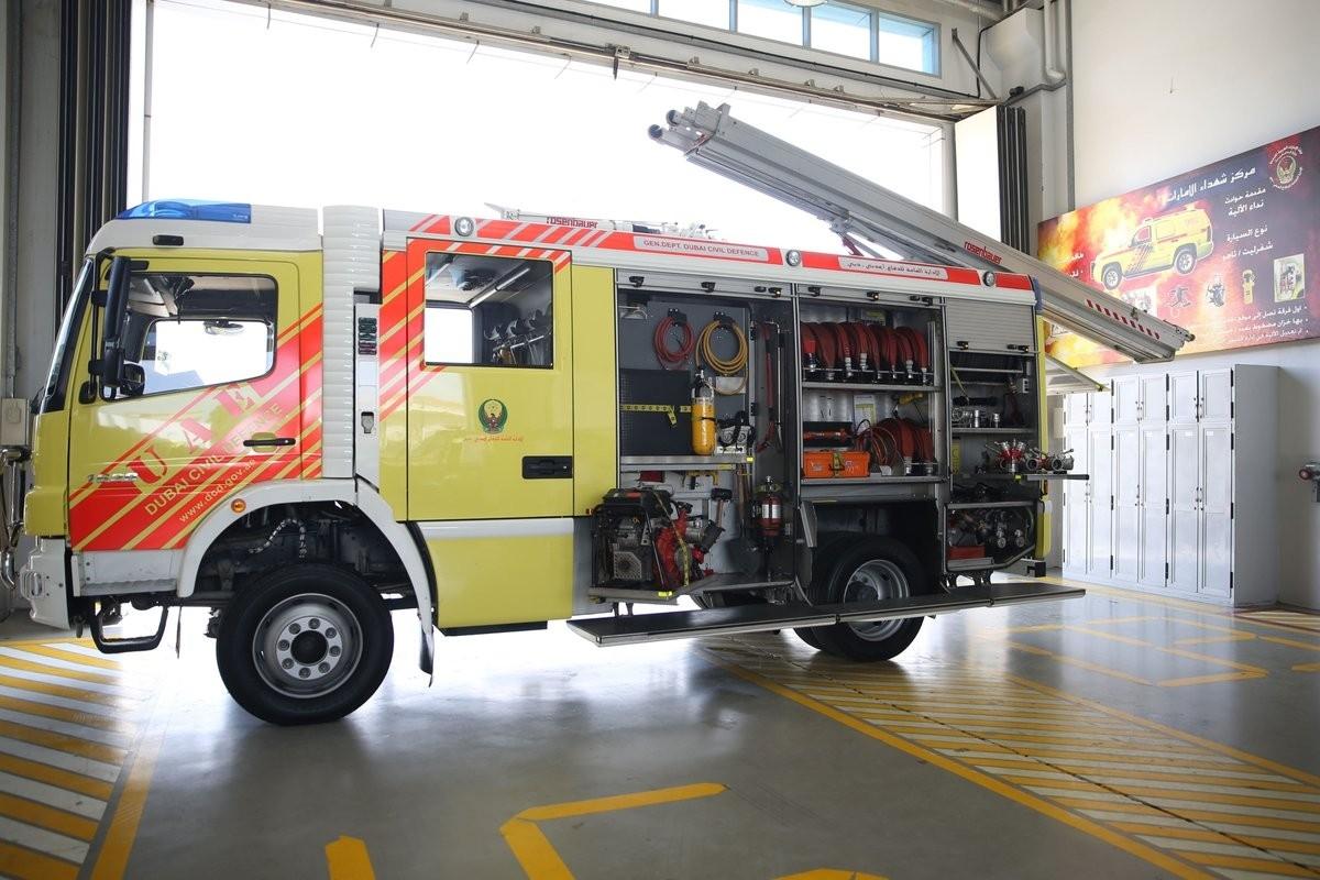 الآليات والمركبات العاملة في الإدارة حالياً مزودة بشاشات تحكّم تدار من خلالها جميع أنظمة الإطفاء. (الرؤية)