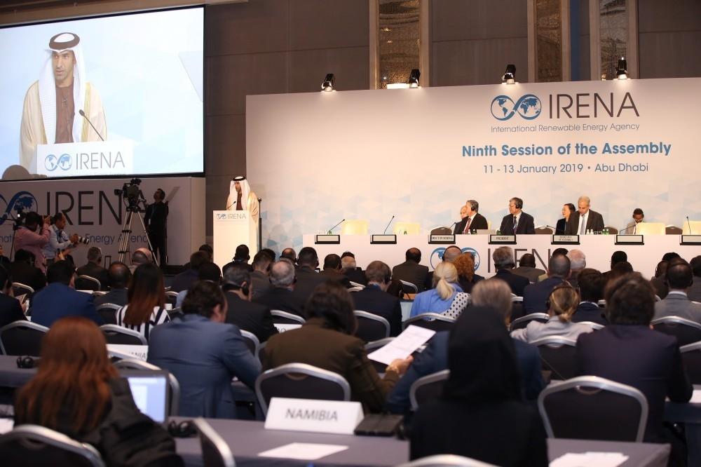 """ثاني الزيودي خلال انطلاق فعاليات الدورة التاسعة من اجتماعات الجمعية العمومية للوكالة الدولية للطاقة المتجددة (آيرينا) """"الرؤية"""""""