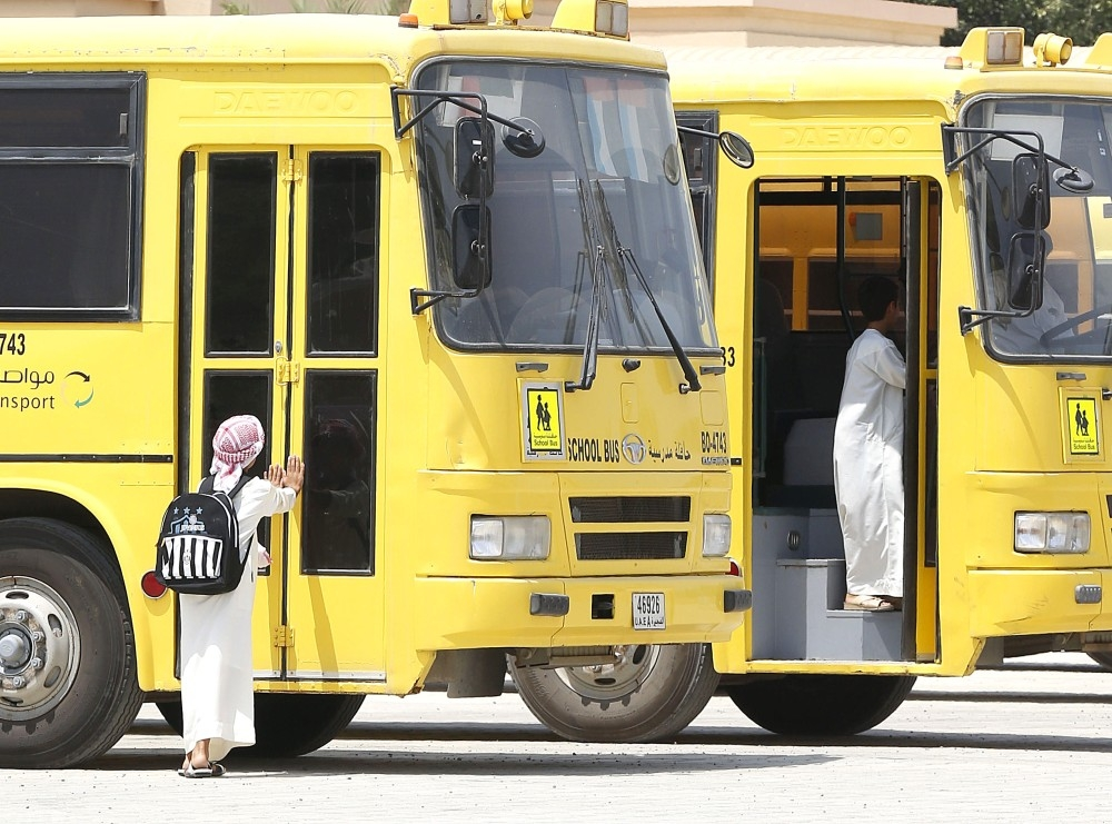 after school into bus, a scene from fujairah on 01-09-15