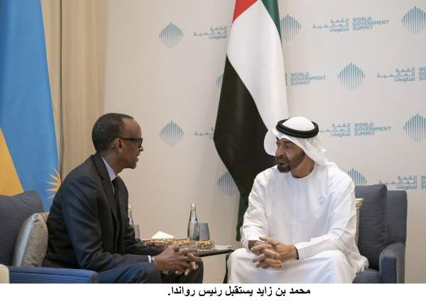 JUMEIRAH, DUBAI, UNITED ARAB EMIRATES - February 12, 2019: HH Sheikh Mohamed bin Zayed Al Nahyan Crown Prince of Abu Dhabi Deputy Supreme Commander of the UAE Armed Forces (R), meets with HE Paul Kagame, President of Rwanda (L), during the 2019 World Government Summit.( Ryan Carter for the Ministry of Presidential Affairs )---