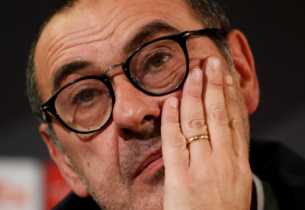 Soccer Football - Europa League - Chelsea Press Conference - Swedbank Stadion, Malmo, Sweden - February 13, 2019 Chelsea manager Maurizio Sarri during a press conference Action Images via Reuters/Peter Cziborra