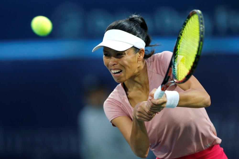 سو وي هيش لاعبة التنس التايوانية بتعابير وجهها المرهقة