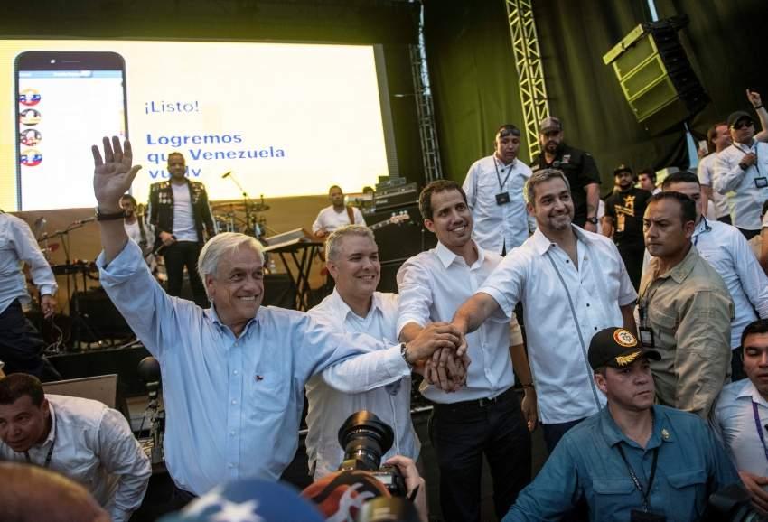 غوايدو مع رؤساء كولومبيا وتشيلي والباراغواي. (رويترز)