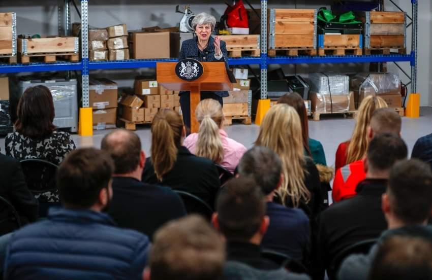 ماي تتحدث في مؤسسة صناعية بريطانية عن بركيست امس الاول.