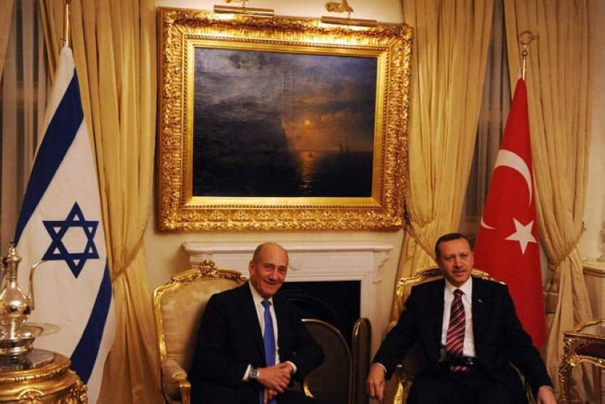 أردوغان مع رئيس وزراء إسرائيل الأسبق