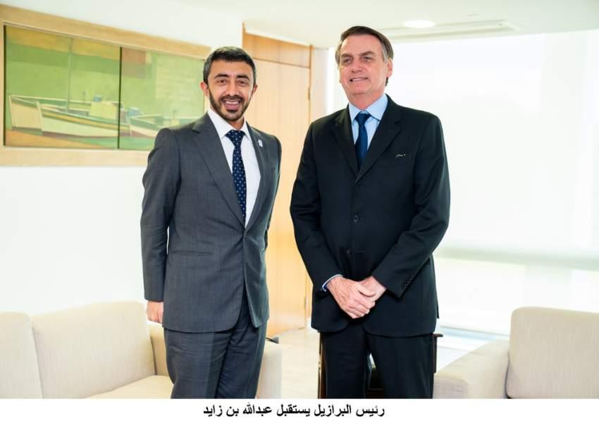عبدالله بن زايد لدى لقائه رئيس البرازيل.