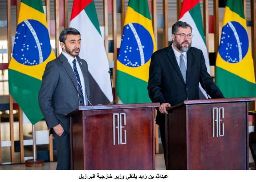 عبدالله بن زايد في مؤتمر صحافي مع وزير خارجية البرازيل.