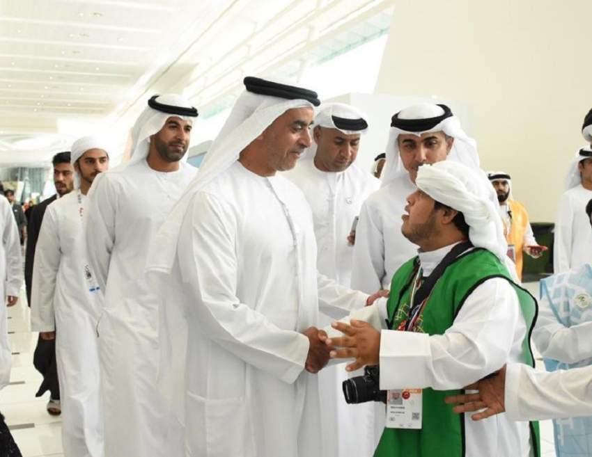 سيف بن زايد يزور فعاليات الأولمبياد الخاص. (وام)