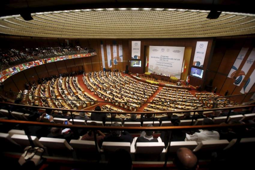 General view of the opening ceremony of the 132nd General Assembly of the Inter-Parliamentary Union (IPU 132) at Ba Dinh hall in Hanoi March 28, 2015. Some 160 foreign delegations from IPU member parliaments, associate members and international organisations are in Hanoi for the IPU 132 from March 28 to April 1.   REUTERS/Kham - GF10000041717