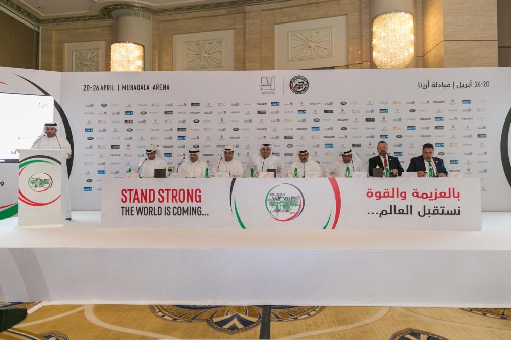 جانب من المؤتمر الصحافي للإعلان عن اكتمال الاستعدادات لانطلاق بطولة أبوظبي للجوجيتسو. (الرؤية)