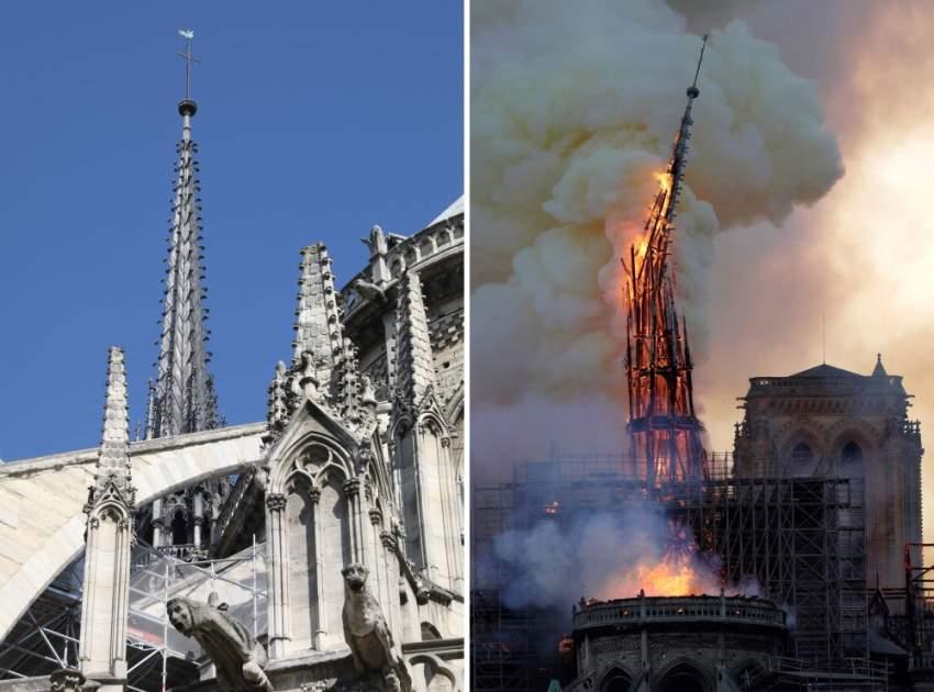 صورة توضح قبل وبعد انهيار برج الكاتدرائية