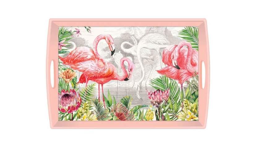 صينية تحمل رسومات لطائر الفلامنجو