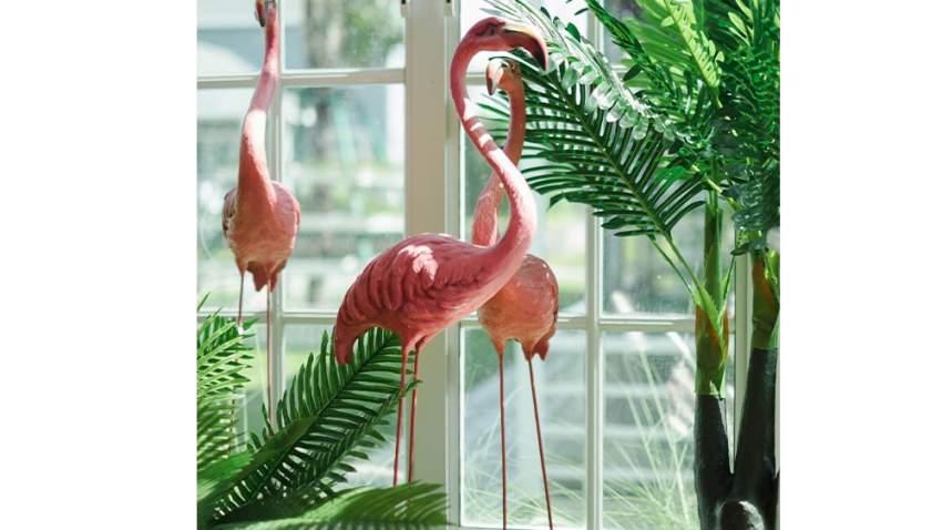 تحفة على شكل طائر الفلامنجو من شأنها إضفاء لمسة عصرية على غرفة المعيشة