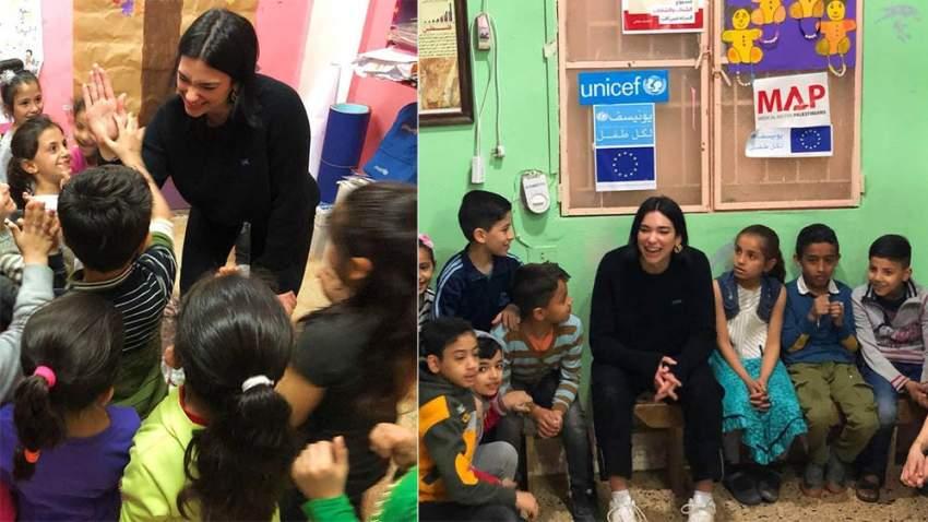 دواليبا خلال زيارتها لمخيم اللاجئين في البقاع اللبناني