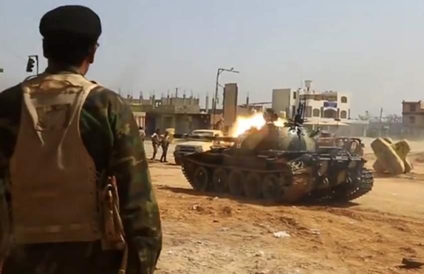جنود من الجيش الوطني الليبي جنوب طرابلس. (أ ف ب)
