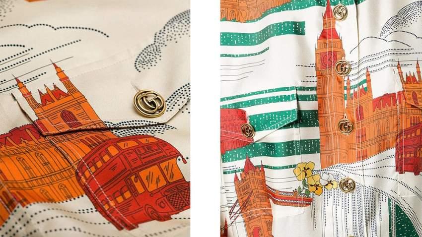 نظرة قريبة على طبعات الفستان