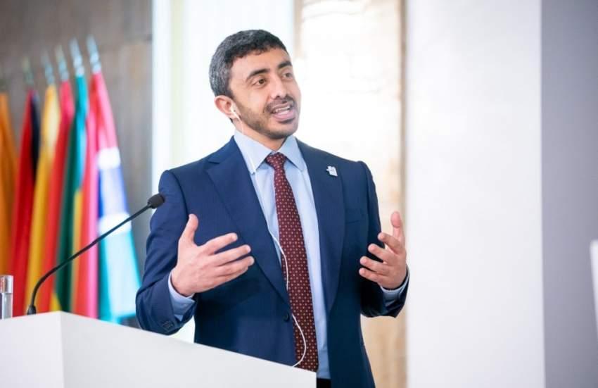 عبدالله بن زايد: نريد تأمين تدفقات موارد المنطقة .. ونسعى لنشر التنوير والتسامح