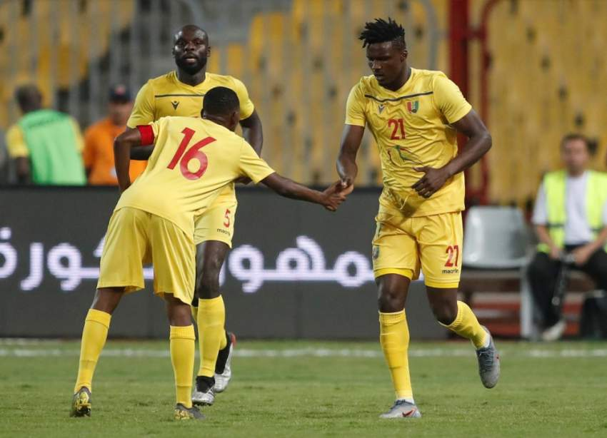 Soccer Football - International Friendly - Egypt v Guinea - Borg El Arab, Alexandria, Egypt - June 16, 2019 Guinea's Sory Kaba celebrates scoring their first goal with Ibrahima Traore REUTERS/Amr Abdallah Dalsh