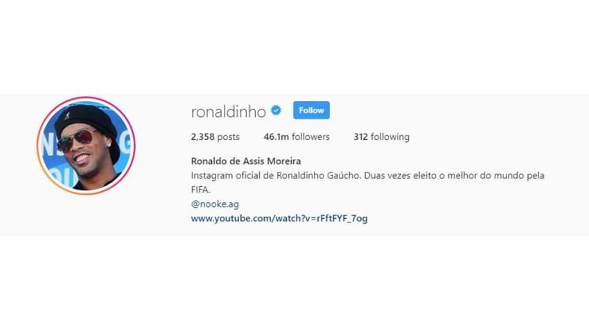 رونالدينيو يحظى بمتابعة أكثر من 46 مليون متابع