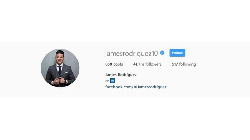 جيمس رودريغوز يحظى بمتابعة 41 مليون متابع