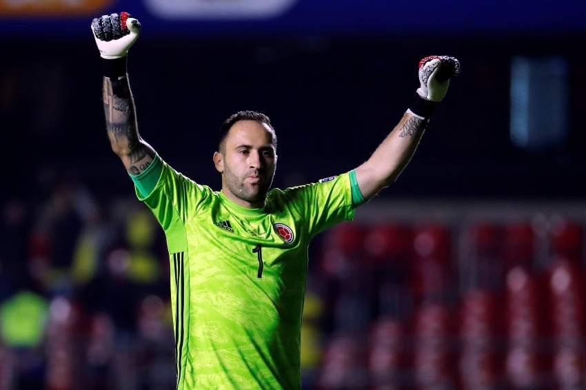 epa07659142 Colombian goalkeeper David Ospina celebrates a goal during the Copa America 2019 Group B soccer match between Colombia and Qatar, at Morumbi Stadium in Sao Paulo, Brazil, 19 June 2019. EPA/Paulo Whitaker