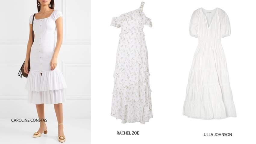 مجموعة فساتين بيضاء بتصاميم مختلفة تلائم فصل الصيف