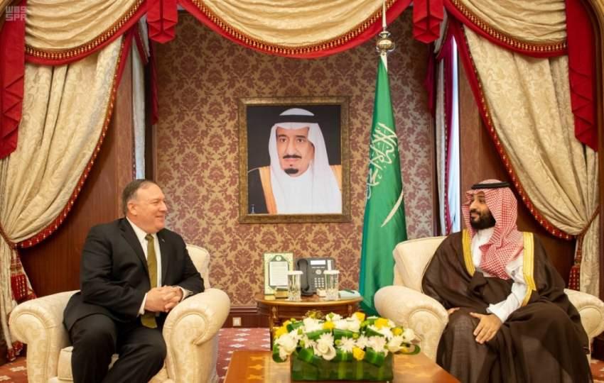 محمد بن سلمان لدى لقائه وزير الخارجية الأمريكي.