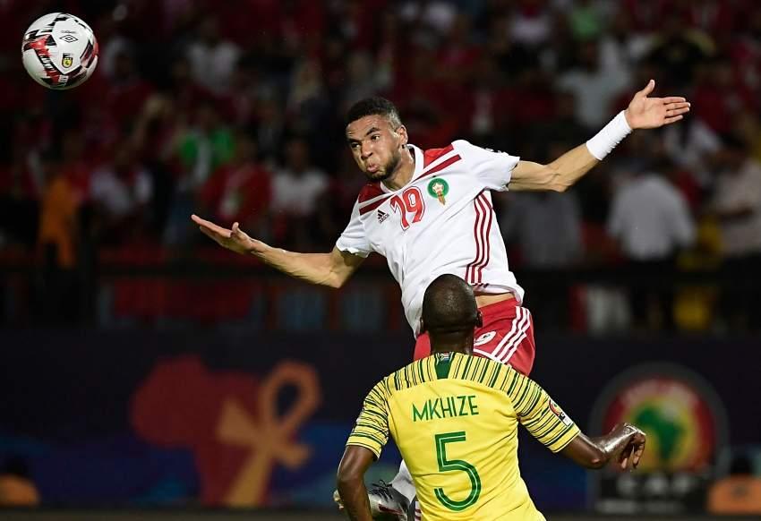 المغربي يوسف النصيري خلال مباراة فريقه أمام جنوب أفريقيا أخيراً. (أ ف ب)