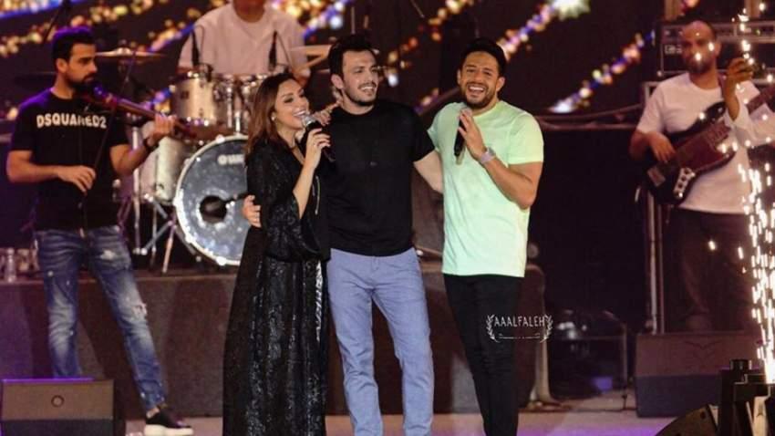 أنغام مع زوجها ومحمد حماقي