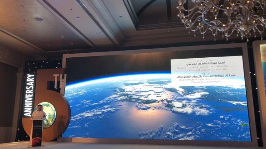 خلال احتفال وكالة الإمارات للفضاء في أبوظبي بمناسبة الذكرى الخامسة لانطلاقتها. (الرؤية)