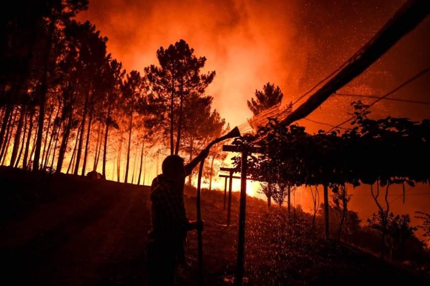 وضعت خمس مناطق في وسط البرتغال وجنوبها الأحد في حالة تأهب قصوى لمواجهة حرائق بسبب الجفاف والرياح. (أ ف ب)