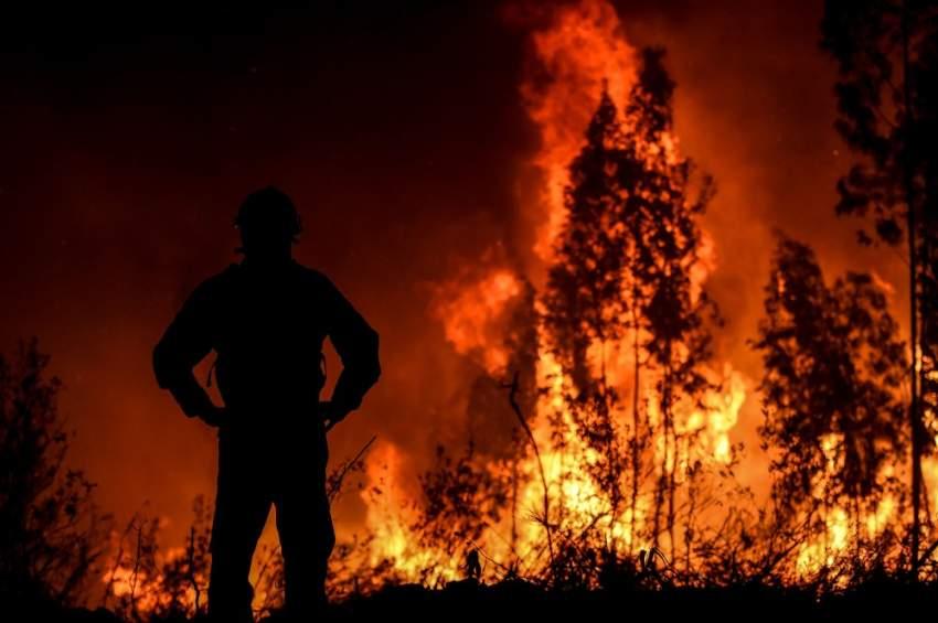 يكافح أكثر من ألف رجل إطفاء الحرائق التي أسفرت عن إصابة ثمانية أشخاص بجروح في منطقة كاستيلو برانكو بينهم مدني في حالة خطيرة نقل بمروحية إلى لشبونة التي تبعد نحو مئتي كيلومتر عن المنطقة المنكوبة. (أ ف ب)