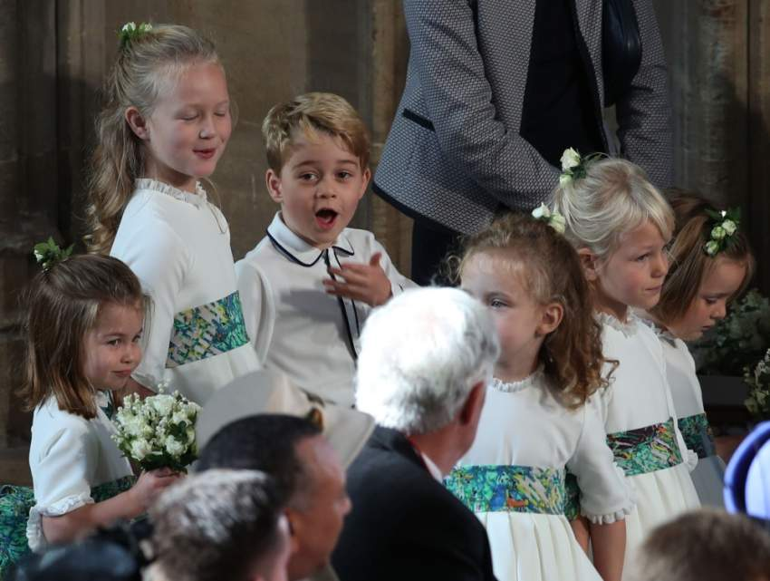 ردة فعل طريفة للأمير جورج خلال حفل زفاف الأميرة يوجين (Getty images)