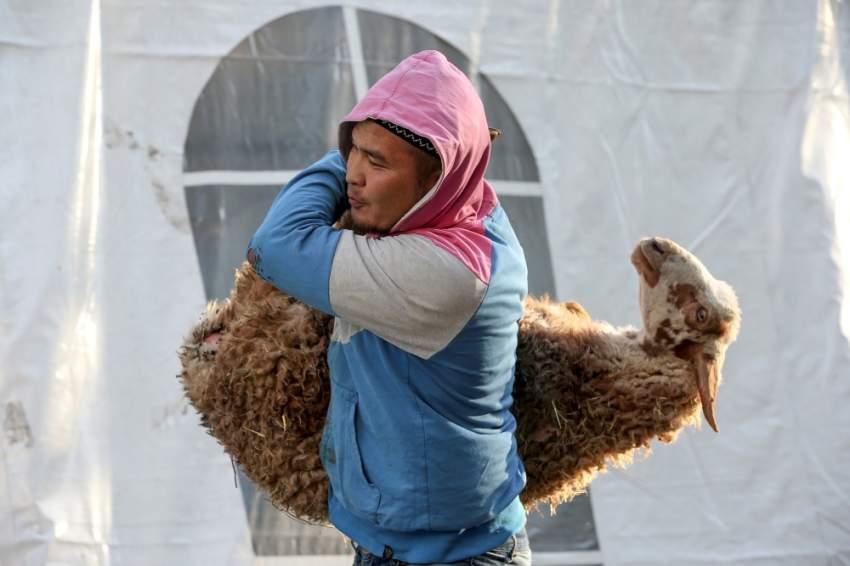 تجهيز الأضاحي في كازاخستان (رويترز)