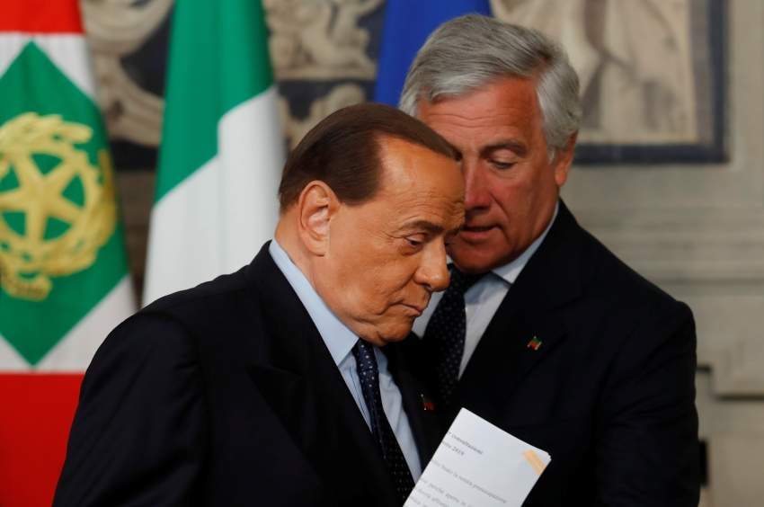 Forza Italia leader Silvio Berlusconi talks with Antonio Tajani after consultations with Italian President Sergio Mattarella in Rome, Italy, August 22, 2019. REUTERS/Remo Casilli