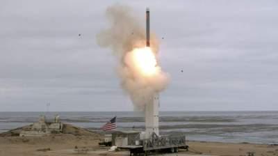 خلال تجربة أمريكية لصاروخ يزيد مداه على 500 كلم. (أ ف ب)