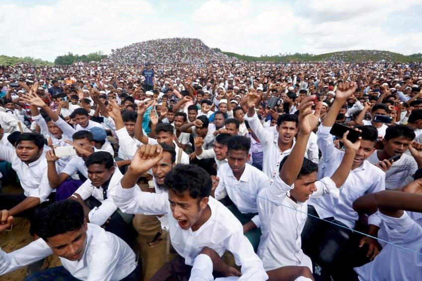Rohingya refugees shout slogans as they gather to mark the second anniversary of the exodus at the Kutupalong camp in Cox's Bazar, Bangladesh, August 25, 2019. REUTERS/Rafiqur Rahman