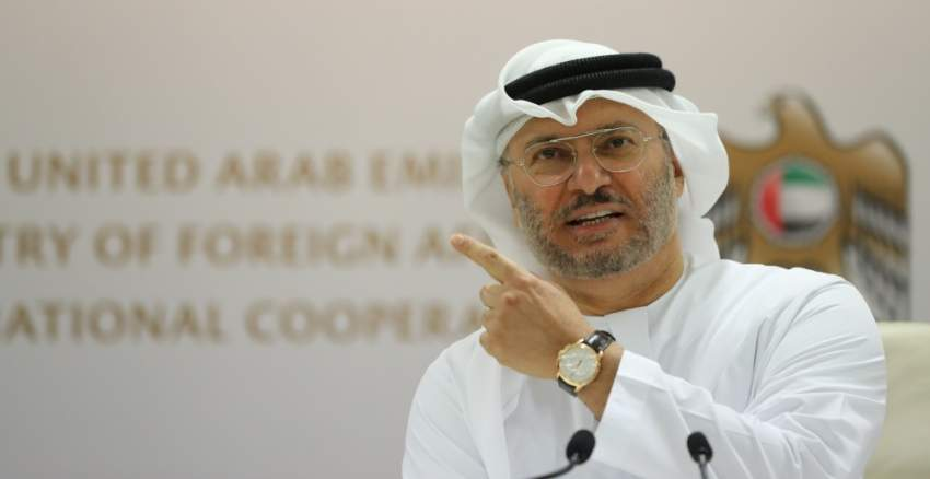 Emirati Foreign Minister Anwar Gargash speaks during a press conference in Dubai on June 18, 2018. The United Arab Emirates, part of a Saudi-led Arab military alliance in Yemen, warned Huthi rebels to withdraw from the key port city of Hodeida as coalition-backed government forces advance. The