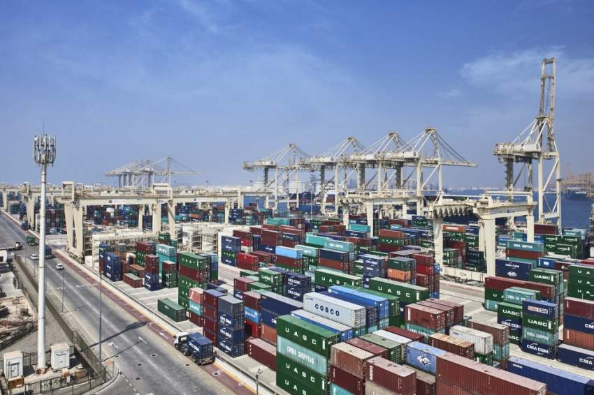 Containers Stacked on Yard in Jebel Ali