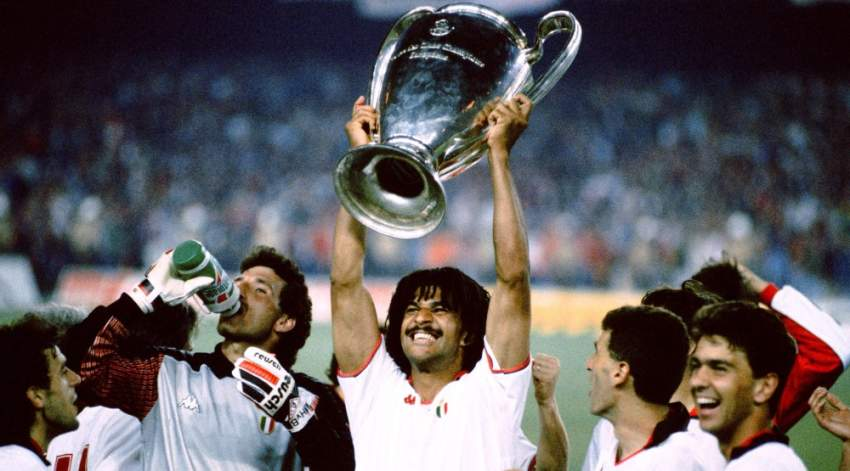 Ruud Gullit of AC Milan celebrates with the European Cup trophy. (Photo by Peter Robinson/EMPICS via Getty Images)